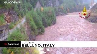 ویدئو؛ خسارت طوفان و سیل در ایتالیا