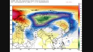 گسترش تراف مورب حاصل از ورتکس قطبی آسیا بروی شرق مدیترانه 28 الی 3 آبان / آذر 97