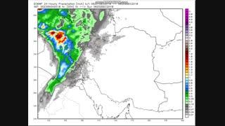الگوی بارش 24 ساعته (اینچ) طی جمعه 9 لغایت سه شنبه 13 آذر 97