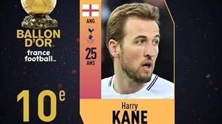 هری کین در رتبۀ دهم فرانس فوتبال