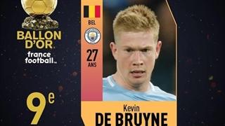 کوین دِ بروین در رتبۀ نهم فرانس فوتبال