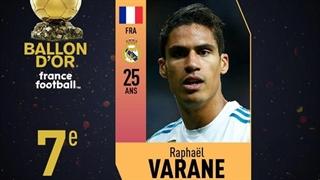 رافائل واران در رتبۀ هفتم فرانس فوتبال