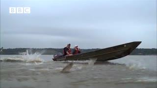 پرش هزاران ماهی خارج از آب به دلیل ترس از حرکت قایق
