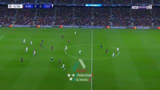 گل اول بارسلونا به تاتنهام توسط دمبله