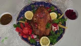 مرغ شکم پر برای شب یلدا با نارگل - Morghe Shekam Por Shabe Yalda