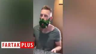 مردی که برای استقبال از سال 2019 چهره خود را کریسمسی کرد!