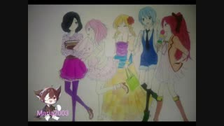 نقاشی انیمه ای من از خودم و دوستام^~^