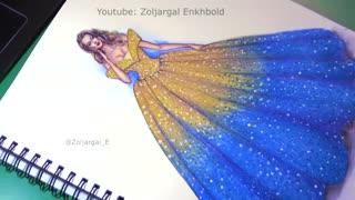 چگونه به نقاشی مد لباس Ombre لباس درخشان - برای مبتدیان