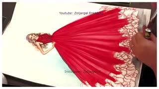 چگونه رنگ نقاشی مد لباس شاهزاده خانم قرمز - برای مبتدی ها