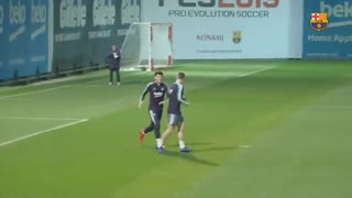 آخرین تمرین بارسلونا پیش از بازی با لوانته