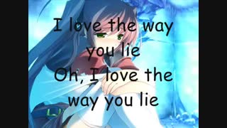 Nightcore - Love the Way you lie (Lyrics)(240P)