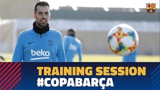 نخستین جلسه تمرینی بارسلونا برای دیدار با سویا در جام حذفی اسپانیا