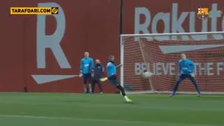 اولین حضور کوین پرینس بواتنگ در تمرینات بارسلونا