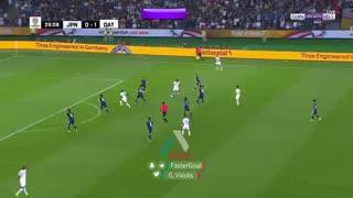 گل دوم قطر به ژاپن توسط عبدالعزیز حاتم