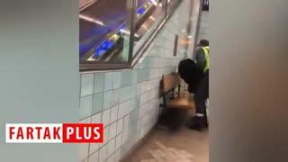 رفتار وحشیانه پلیس مترو با زن باردار!