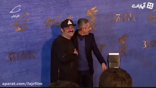 بغل کردن مهران غفوریان و جواد رضویان روی فرش قرمز جشنواره فیلم فجر