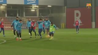 آخرین تمرین بارسلونا پیش از بازی با اتلتیک بیلبائو