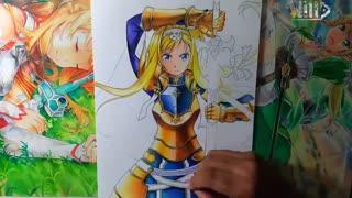 نقاشی از آلیس از انیمه sword art online alicization