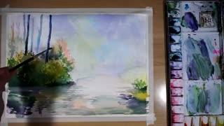 آموزش نقاشی آبرنگ(( منظره رویایی پل))