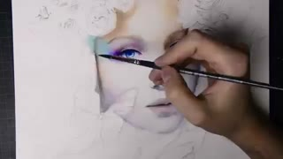 نقاشی آبرنگ چهره بسیار زیبا