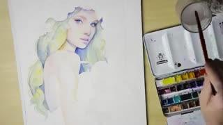 نقاشی آبرنگ چهره