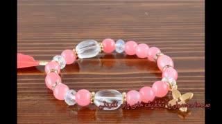 دستبند سنگی زنانه پلاک دار - فروشگاه اینترنتی آوینا مارت