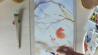 ویدیو نقاشی آبرنگ پرنده