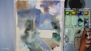 نقاشی ابرنگ قطار و دریا