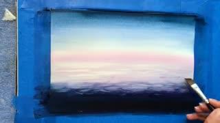 آموزش نقاشی آب رنگ -کشتی روی دریا
