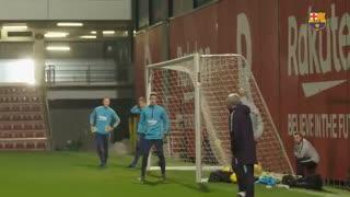 آخرین تمرین بارسلونا پیش از بازی با وایادولید