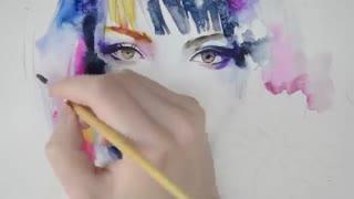 نقاشی ابرنگ چهره دختر ژاپنی