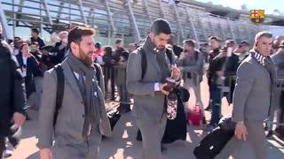سفر بازیکنان بارسلونا به فرانسه برای بازی با المپیک لیون