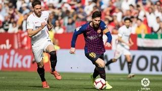 گل سوم بارسلونا به سویا با هتریک لیونل مسی