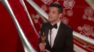 لحظه اعلام و اهدای جایزه بهترین بازیگر مرد اسکار به رامی ملک