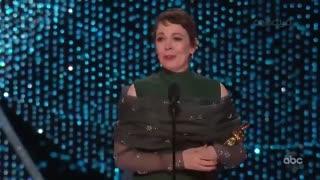 لحظه اعلام و اهدای جایزه بهترین بازیگر زن اسکار به الویا کلمن