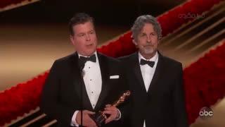 لحظه اعلام و اهدای جایزه اسکار فیملنامه اورجینال به فیلم کتاب سبز