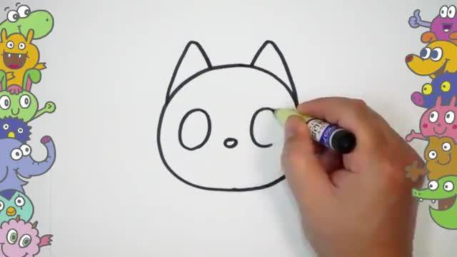 آموزش نقاشی کودکان - نقاشی مرحله به مرحله گربه