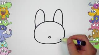 آموزش نقاشی کودکان - نقاشی مرحله به مرحله خرگوش