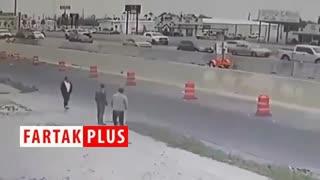 تصادف راننده سر به هوا با مانع بتنی در اتوبان