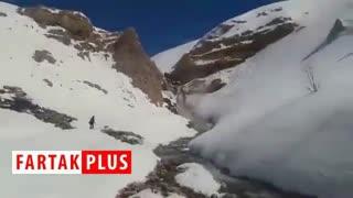 طبیعت زمستانی آبشار شیخ علیخان در کوهرنگ