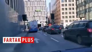 لحظه انفجار اتوبوس در استکهلم
