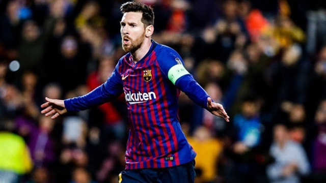 گل اول بارسلونا به لیون توسط لیونل مسی