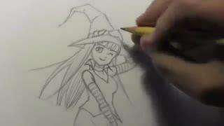 آموزش کشیدن دختر انیمه ای جادوگر