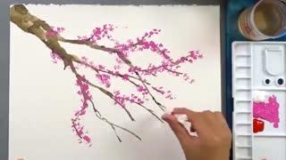 آموزش نقاشی ، شکوفه گیلاس با طرفندی ساده