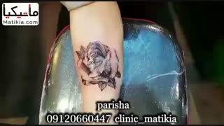 تاتو دخترانه گل رز روی بدن - 09120660447