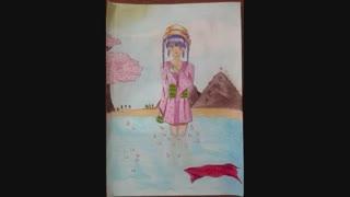 نقاشی یه ماه قبلم دختر انیمه ای (ذهنی) تقدیمی الکس