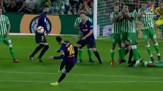 حرکات ویرانگر لیونل مسی در بازی برابر رئال بتیس