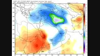 الگوی آنومالی فشار سطح دریا طی جمعه 9 فروردین لغایت سه شنبه 13 فروردین 98