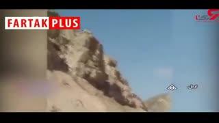 لحظه سقوط سنگ بزرگ در جاده اردل چهارمحال و بختیاری
