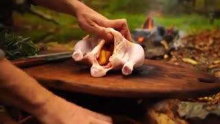 آشپزی در طبیعت: مرغ نمکی خوشمزه